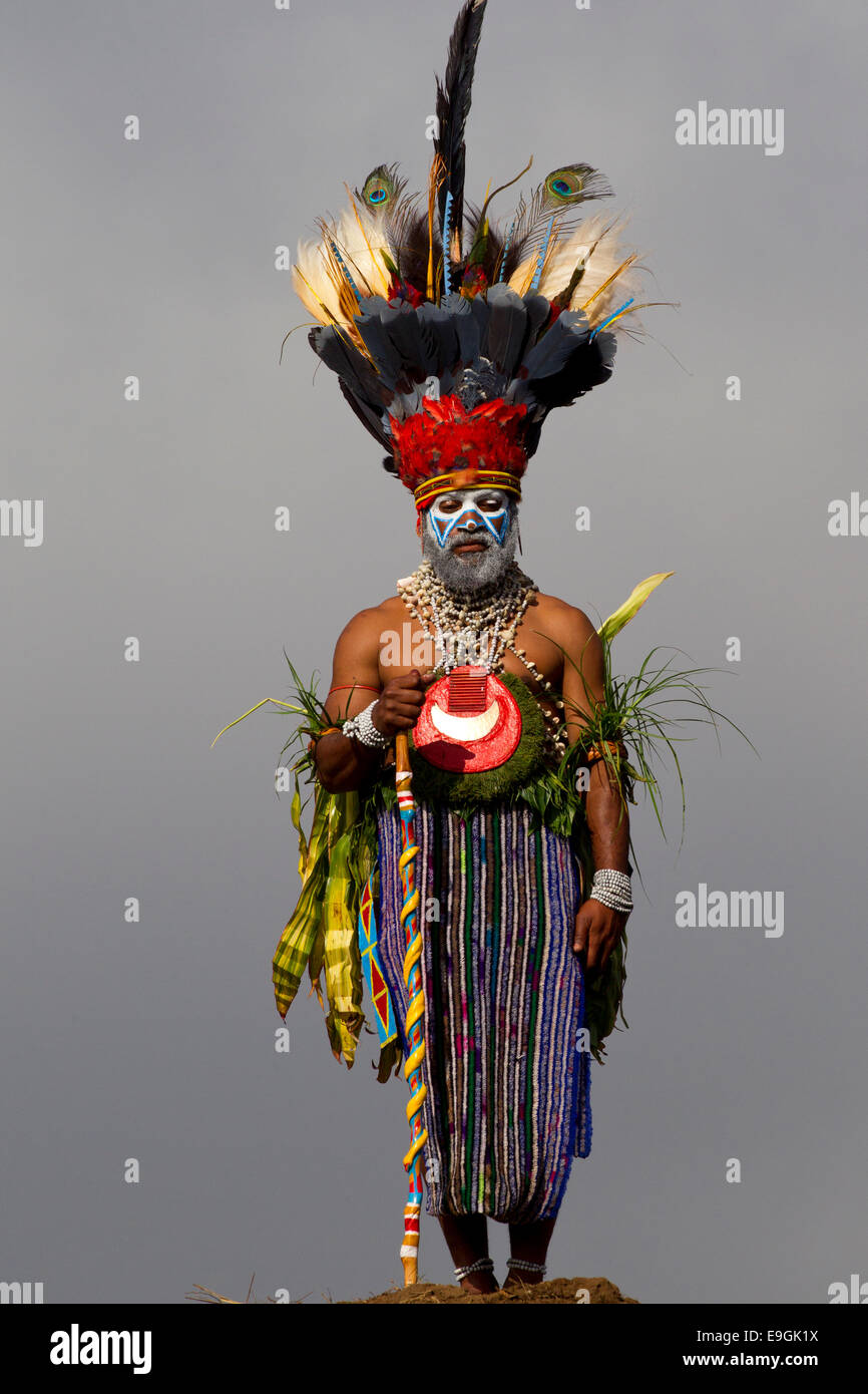 Tribesman of the Western Highlands and his Bird of Paradise Headdress - Stock Image