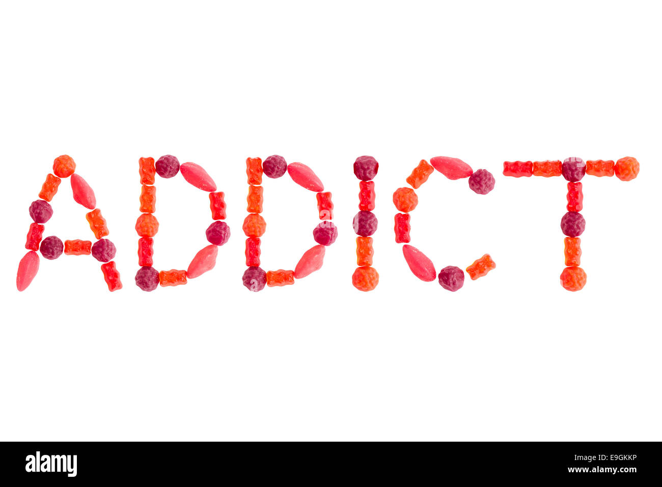 Word ADDICT made of red sugary candies, isolated on white background - Stock Image