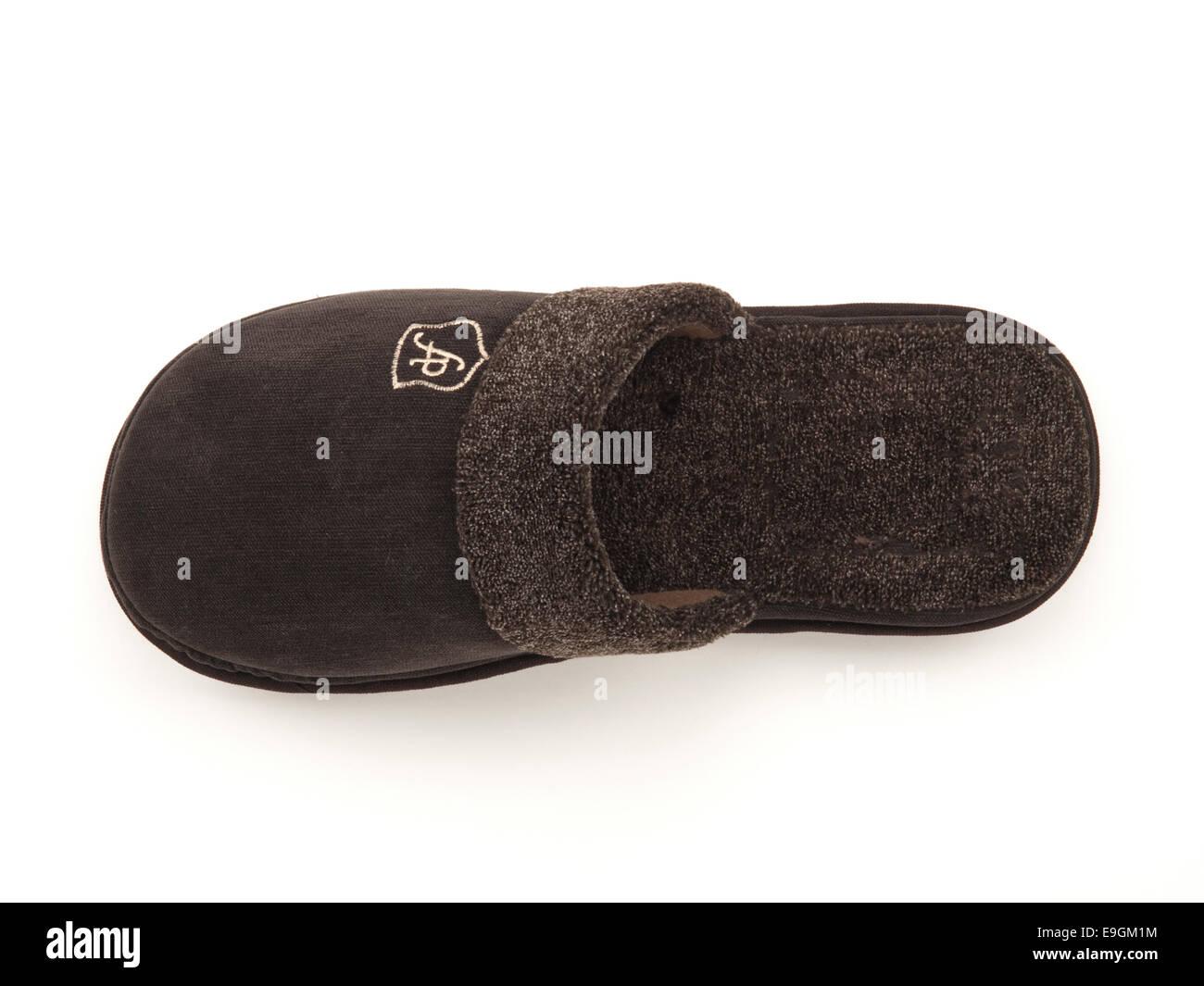 Dark brown man's slipper - Stock Image