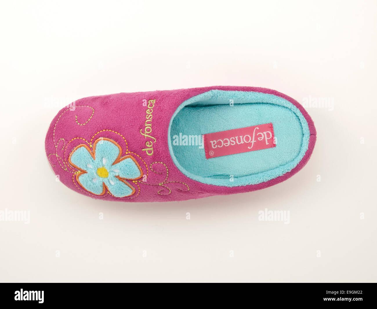 Pink woman's slipper - Stock Image