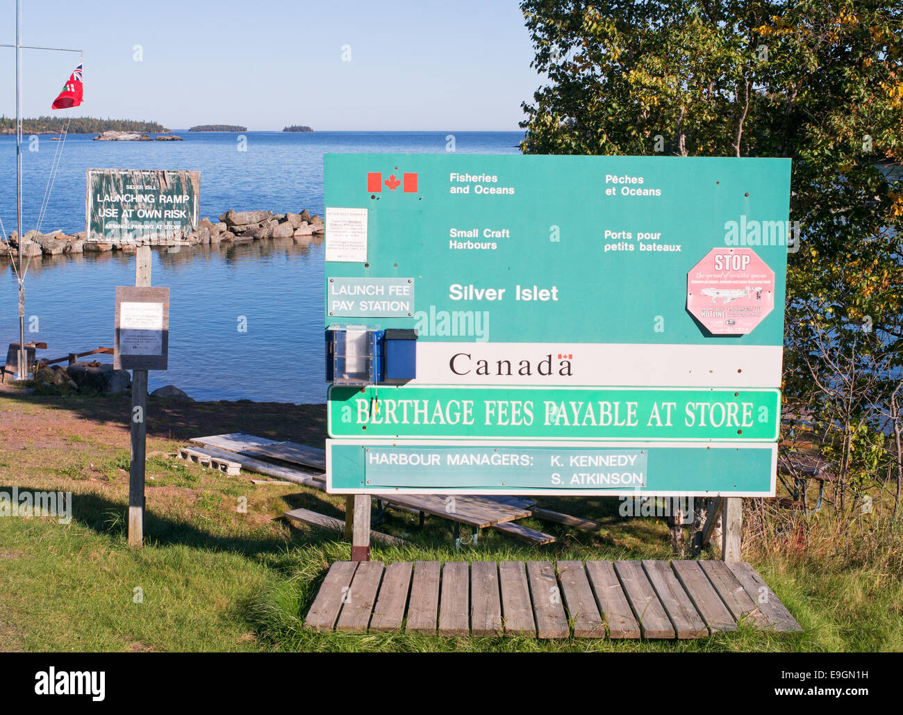 Sign or notice at , Berthage Fees Payable at Store, Ontario, Canada - Stock Image