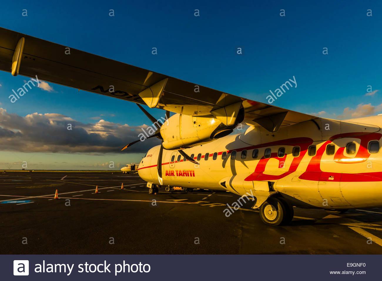 Air Tahiti ATR 72 Turboprop aircraft, Fa'a'ā International Airport, Faaa, Tahiti, French Polynesia. - Stock Image