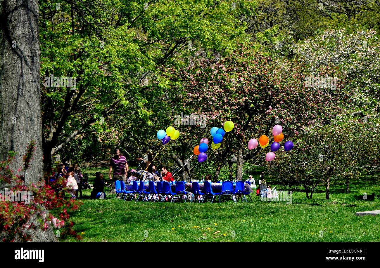NYC Balloons Decorate A Table Set For Childs Birthday Party Beneath Grove Of Spring Flowering Trees In Riverside Park