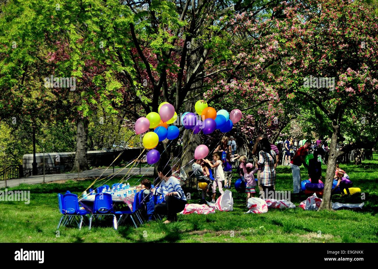 NYC Balloons Decorate A Table Set For Childs Birthday Party Beneath Grove Of Flowering Trees In Riverside Park
