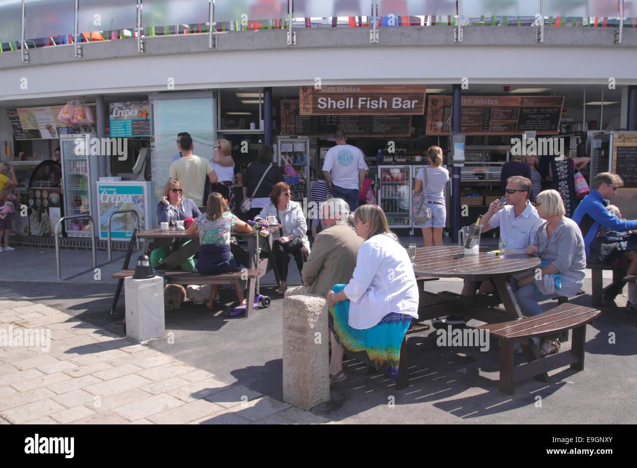 Gee Whites Shell Fish Bar Swanage Dorset England - Stock Image