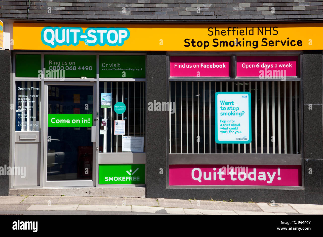 Quit-Stop, the Sheffield NHS Stop Smoking Service in Sheffield , South Yorkshire, England, U.K. - Stock Image