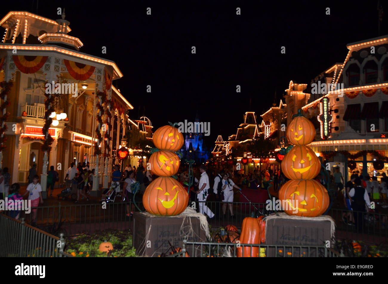 pumpkin decorations for halloween at disneys magic kingdomorlando florida