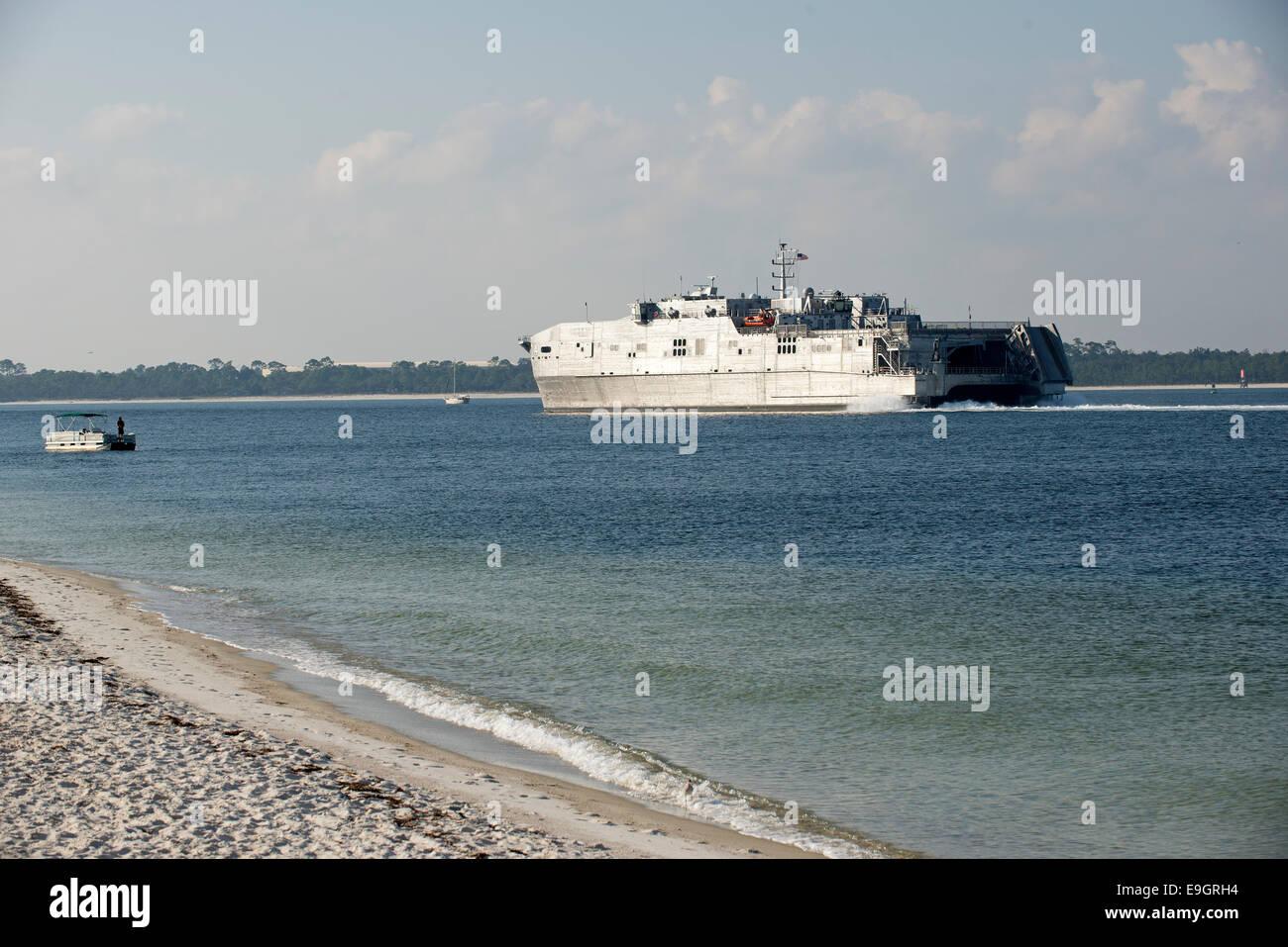 USNS Fall River Spearhead Class US Navy Ship underway Penscola Bay Florida USA Stock Photo