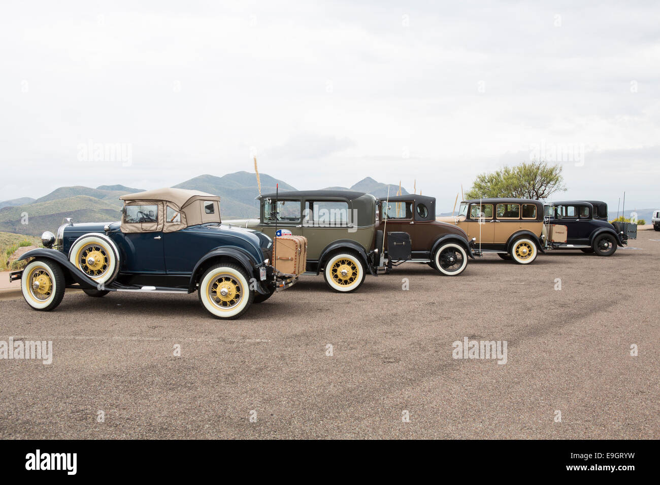 vintage automobiles at sotol vista in big bend  national park, tx - Stock Image