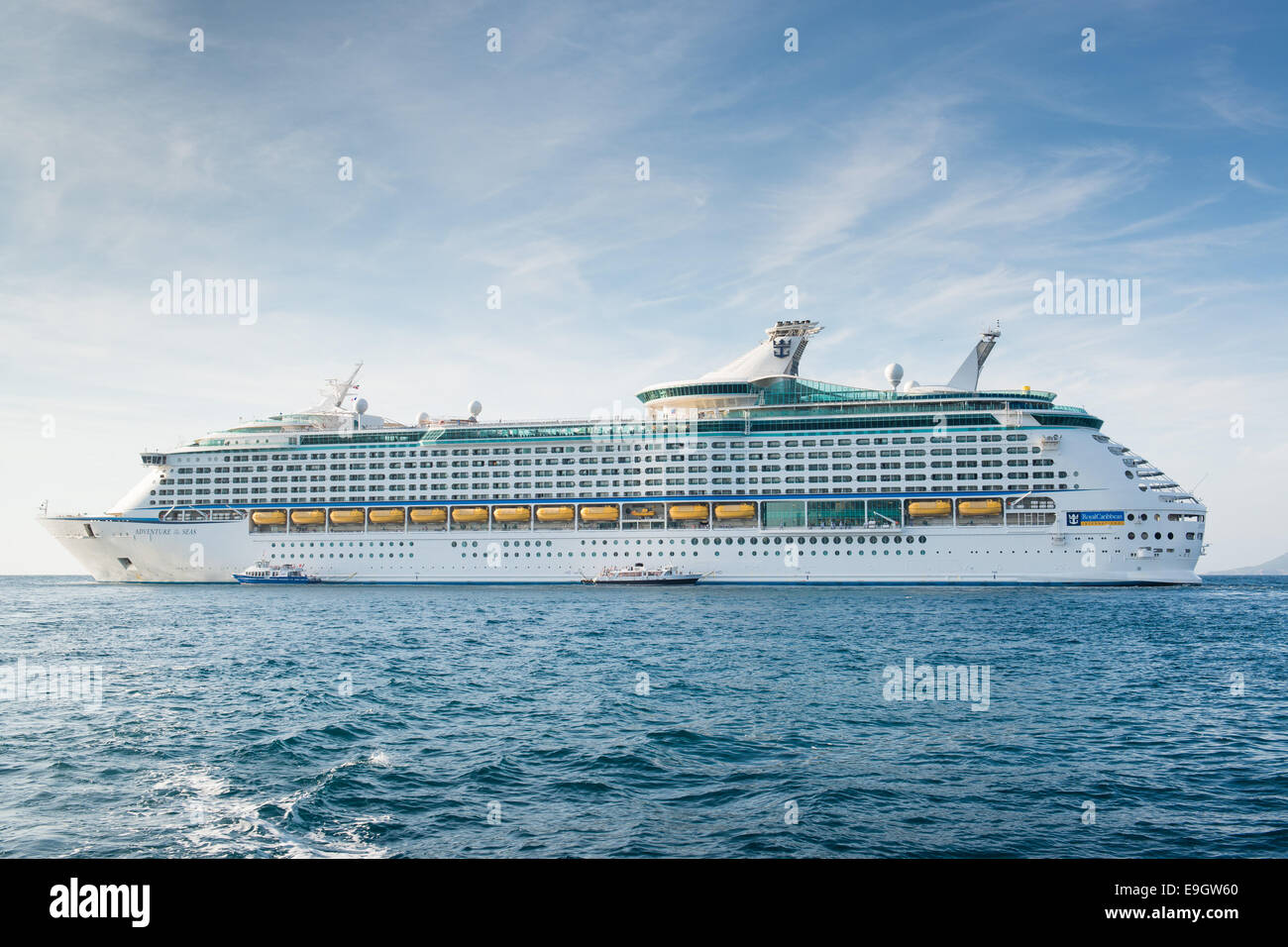 Royal Caribbean International cruise ship Adventure Of The Seas off the coast of Cannes, France - Stock Image