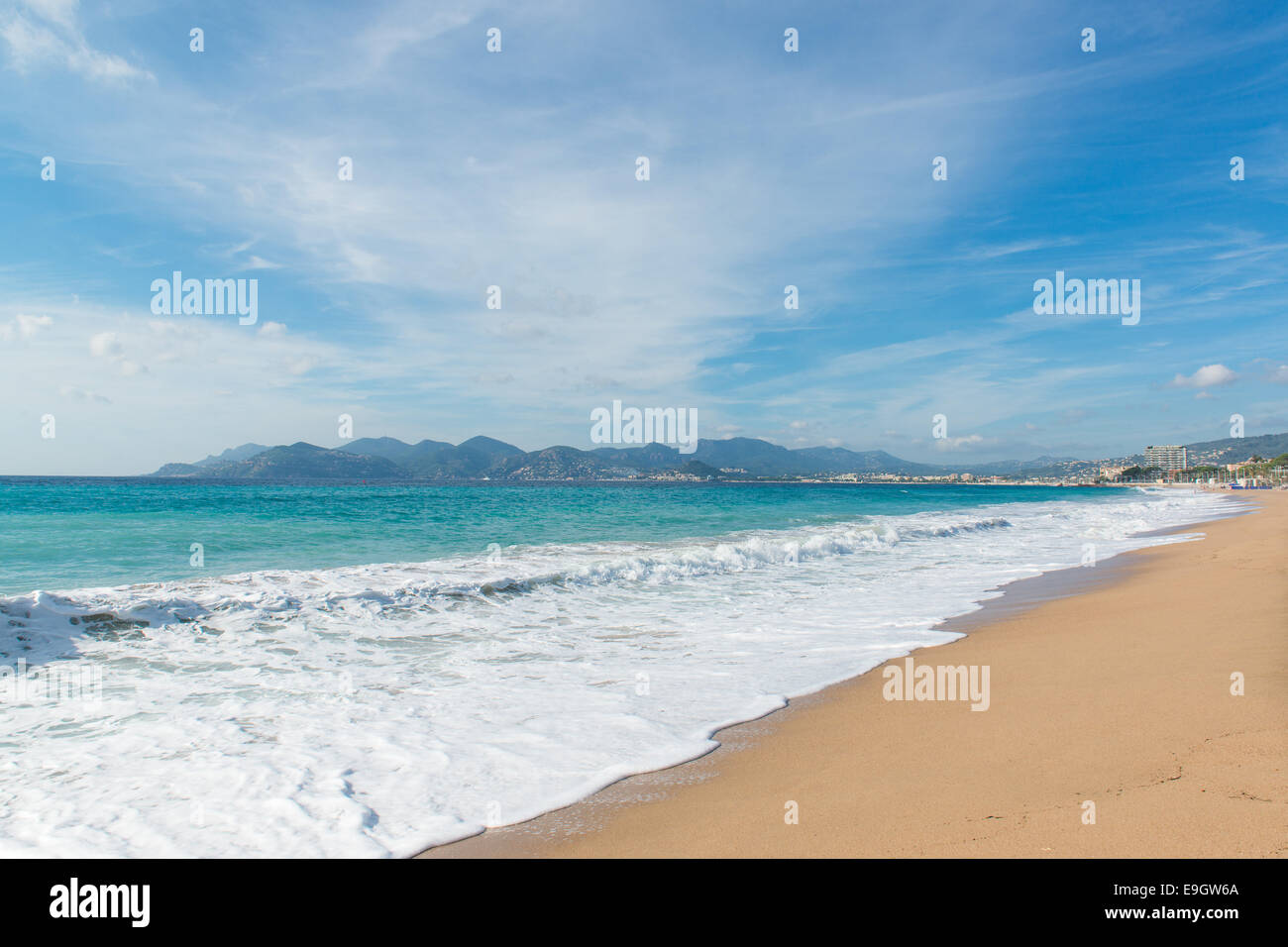 Midi Plage beach in Cannes, France - Stock Image