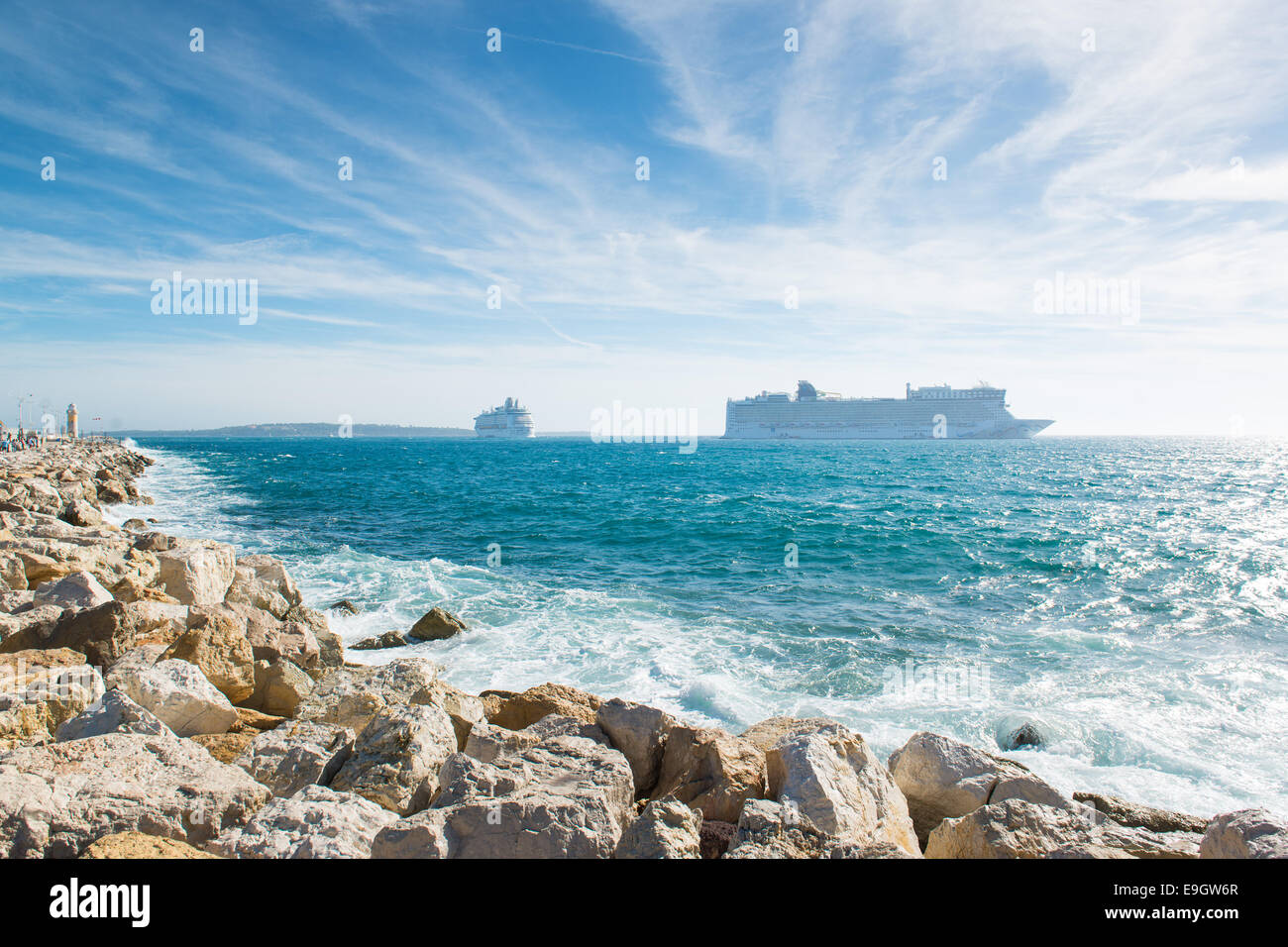 Cruise ships anchored off the coast of Cannes, France - Stock Image