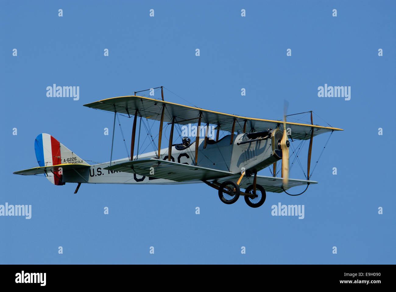 Biplane above  Rhinebeck,  New York, USA - Stock Image