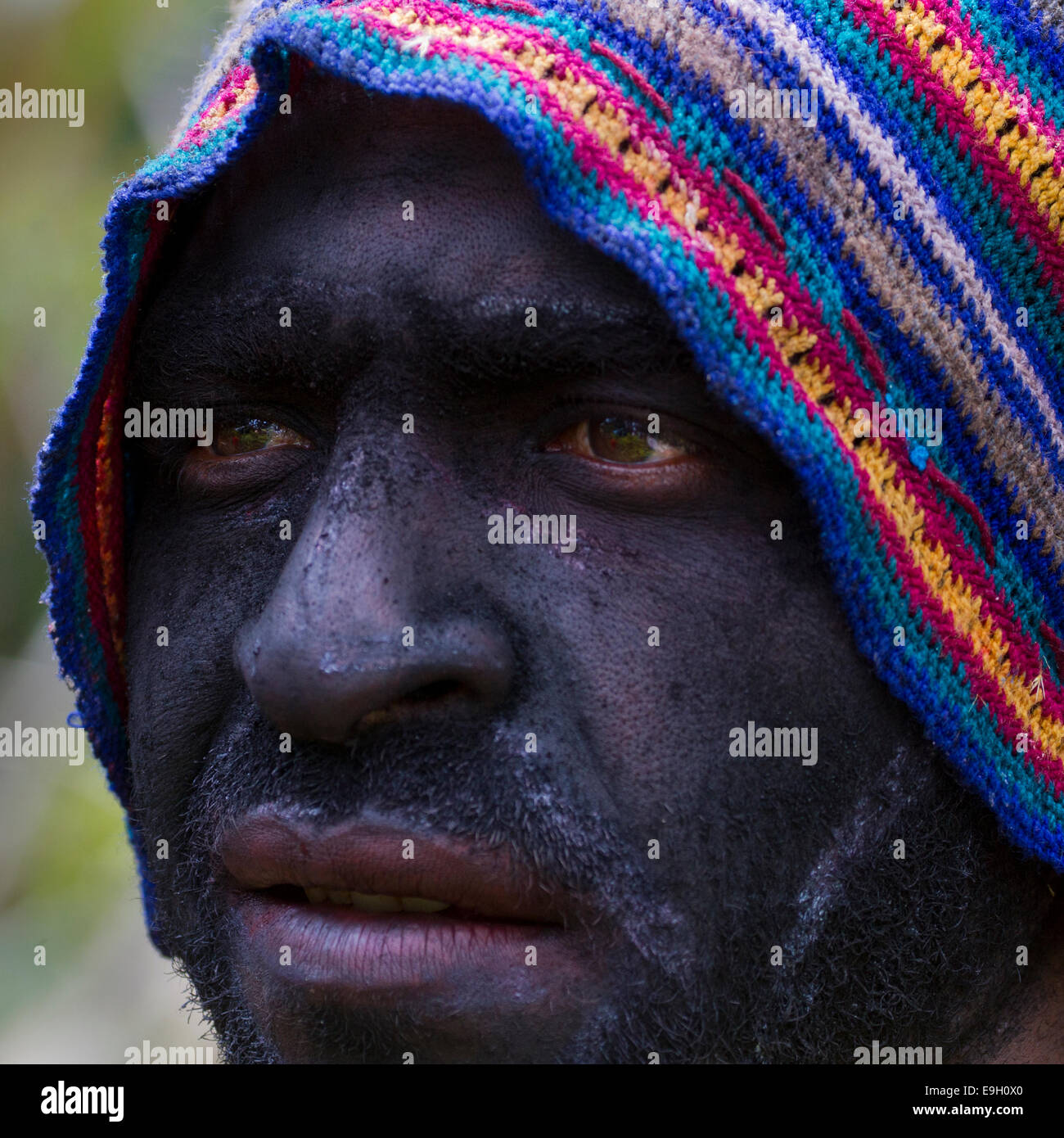 Bystander at Mt. Hagen Sing Sing with Ash-covered Face - Stock Image
