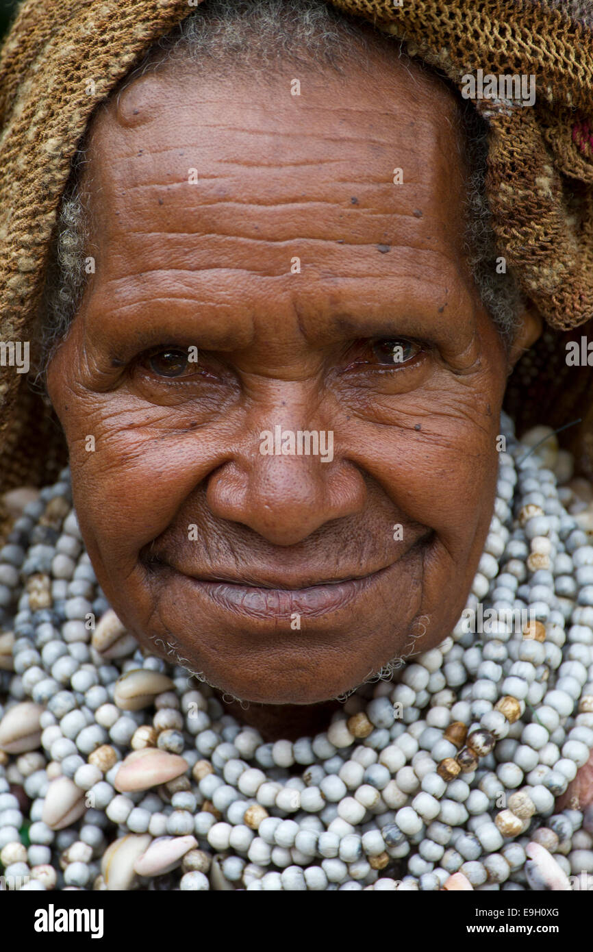 Chief's Wife at Mt. Hagen Sing Sing, Papua New Guinea - Stock Image