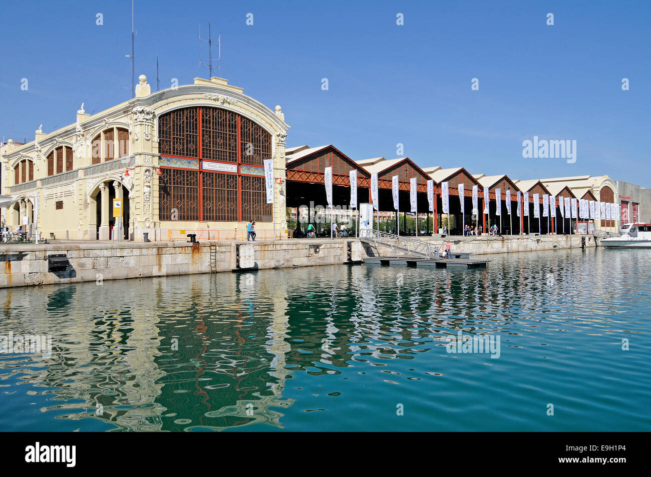 Warehouses in the port of Valencia, Valencian Community, Spain - Stock Image