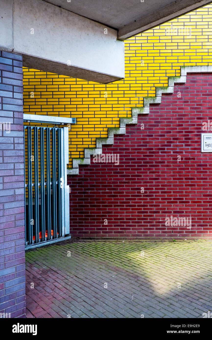 Brick walls, Sporenburg Eiland, Eastern Docklands, Amsterdam, province of North Holland, The Netherlands - Stock Image