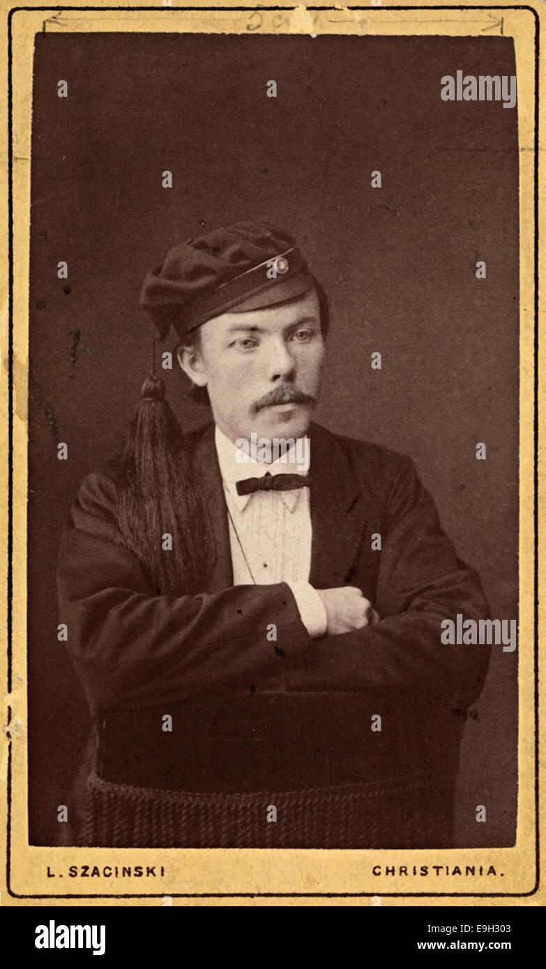 Portrett av Arne Garborg som student - Stock Image