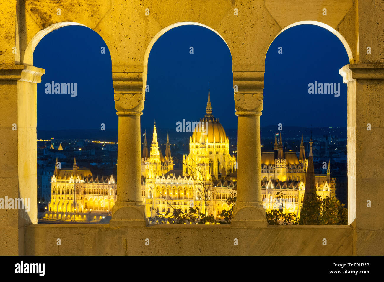 View from the Fishermen's Bastion on the Parliament, Budapest, Hungary - Stock Image