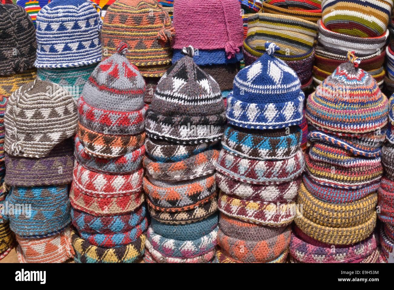 Woollen caps on sale in the souks, market, Marrakech, Marrakesh-Tensift-El Haouz region, Morocco - Stock Image