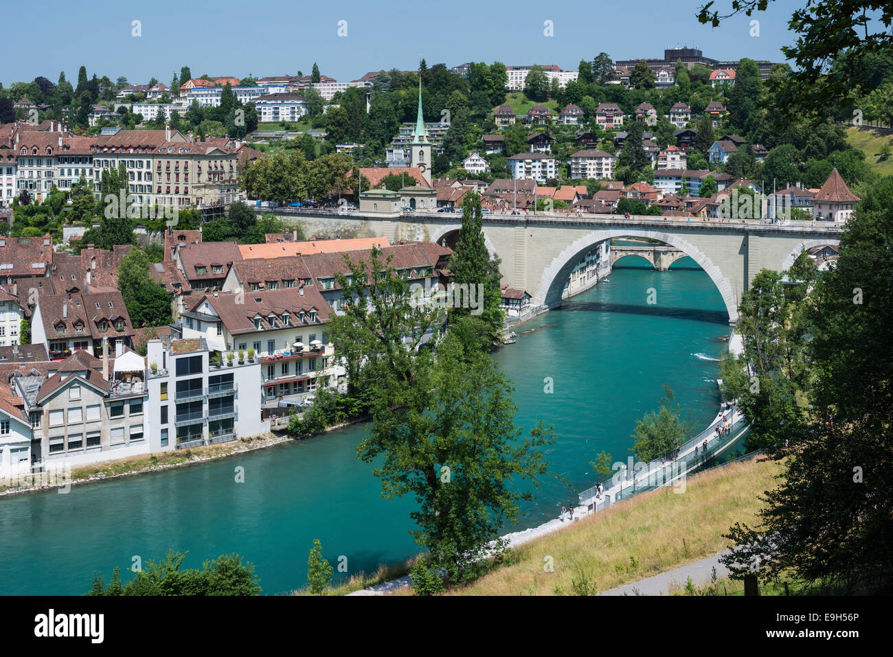 View of the historic centre with the Aar River or Aare River with the Nydegg Bridge, Bern, Canton of Bern, Switzerland - Stock Image