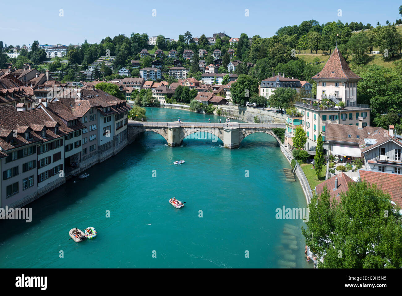 View of the Aar River or Aare River with the Untertor Bridge, historic centre, Bern, Canton of Bern, Switzerland - Stock Image
