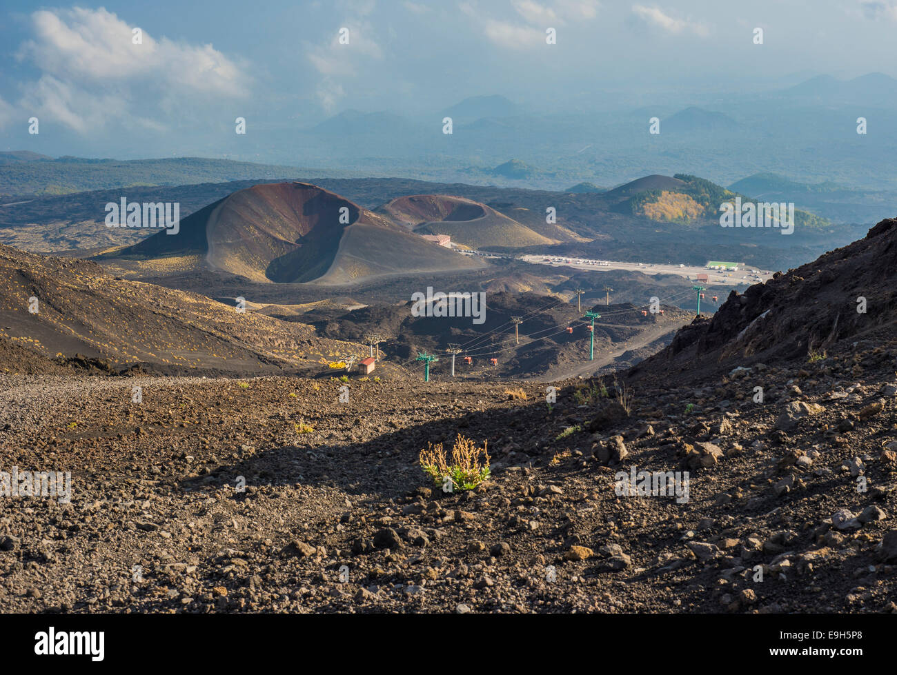Lava fields, craters and cable car, south side, Mount Etna in Zafferana, Sicily, Italy - Stock Image