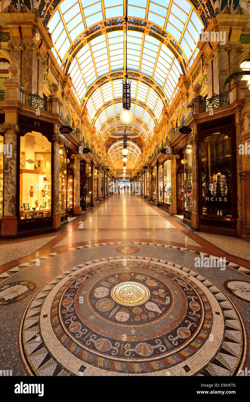 County Arcade with mosaic floor, Victoria Quarter, Leeds, West Yorkshire, England, United Kingdom - Stock Image