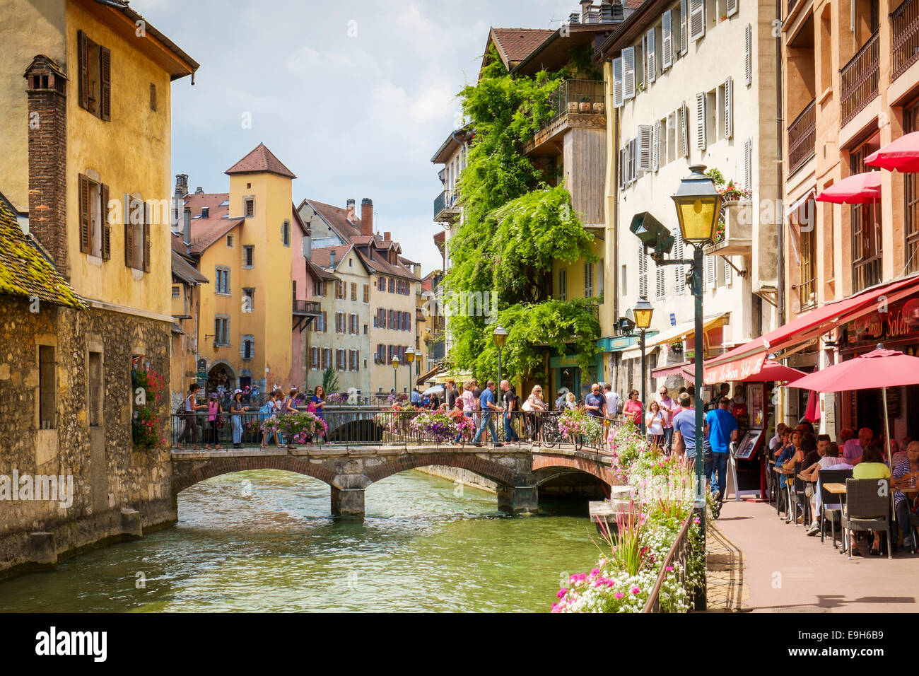 Annecy France With Tourists In The Old Town In Summer Stock Photo