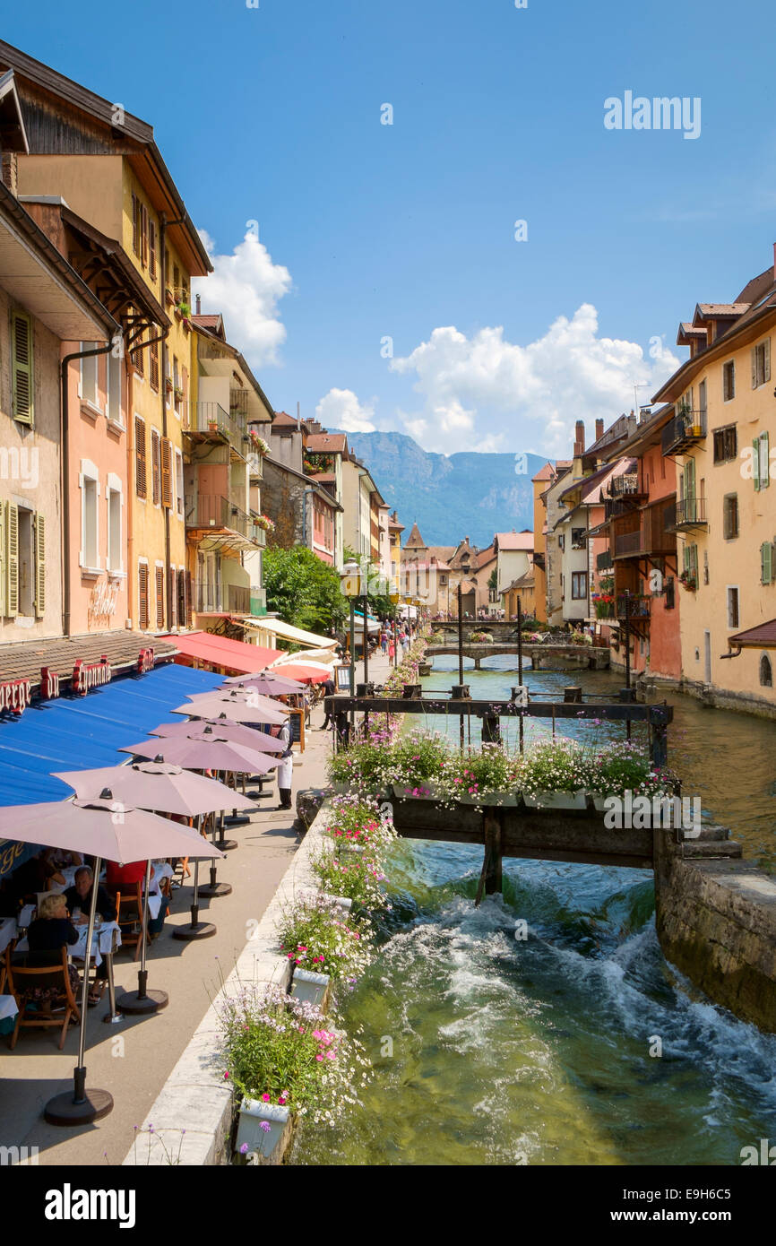 Street cafes in Annecy, France, Haute-Savoie, Europe - Stock Image