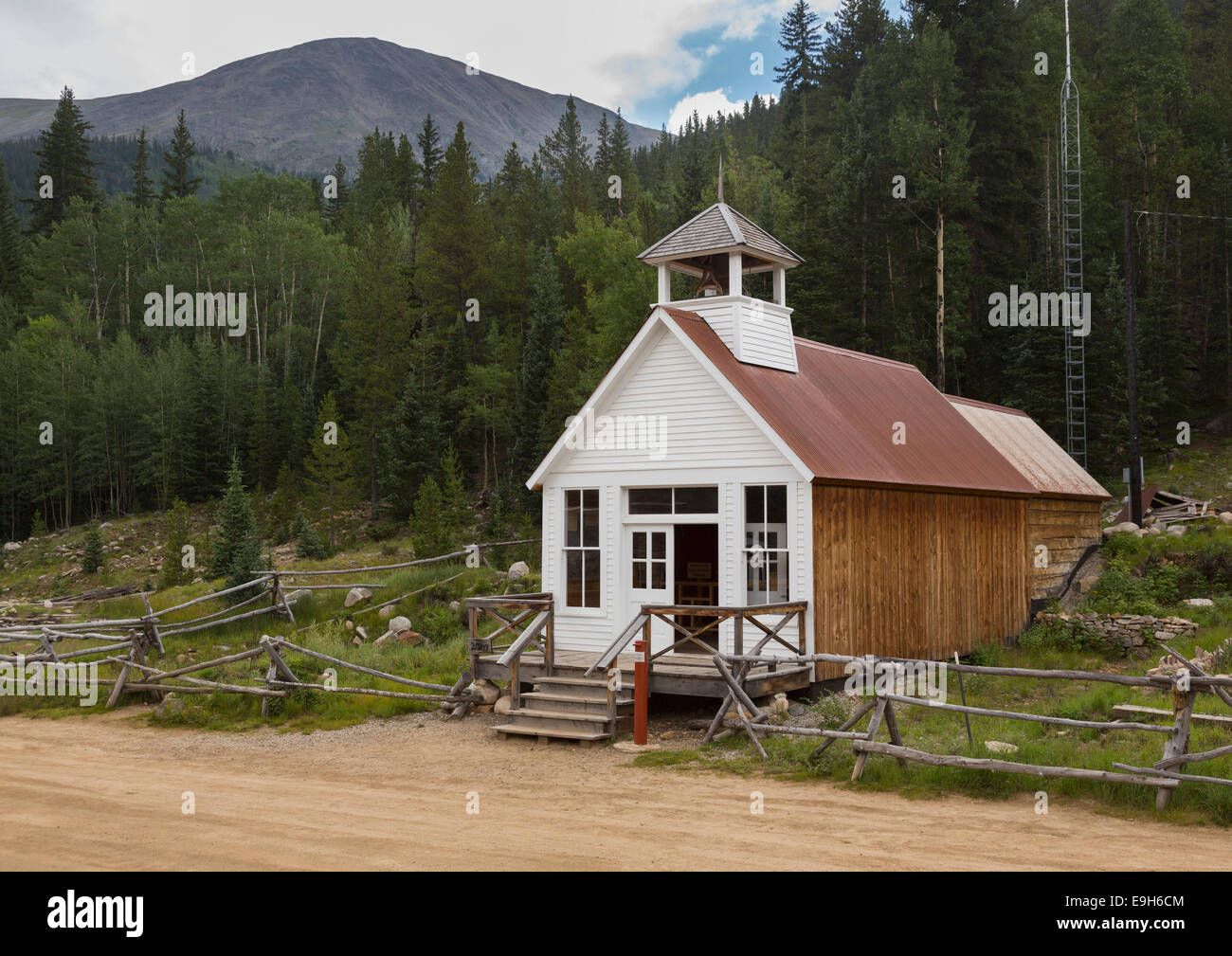 Town hall and museum rebuilt after fire in ghost town of St Elmo, Colorado, USA - Stock Image