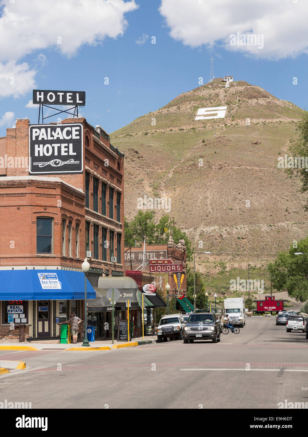 Main street in Salida, Colorado, USA - with hotel and stores - Stock Image