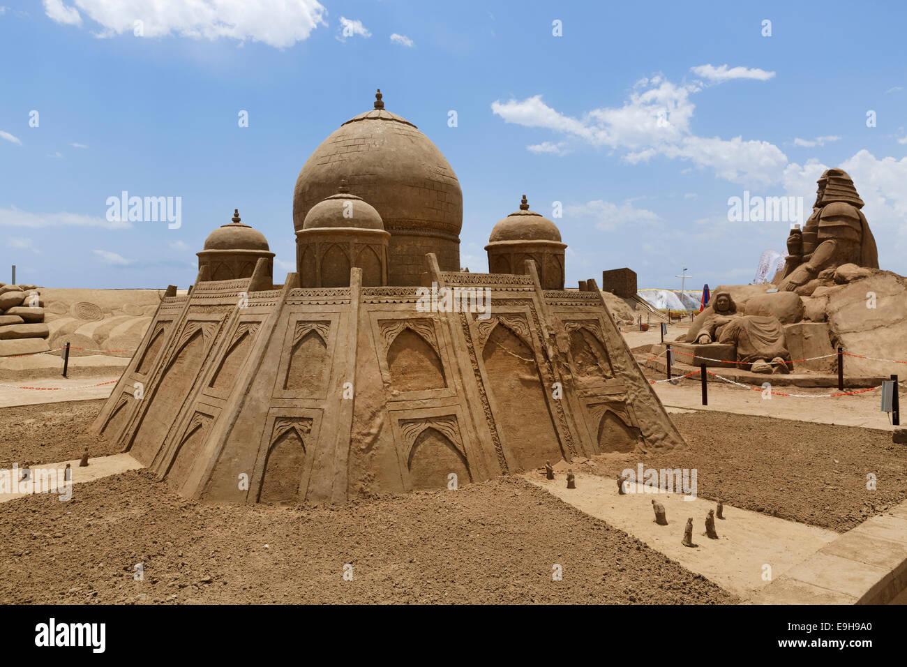 Mughal Empire Sand Sculpture by Ian Zelinka, International Antalya Sand Sculpture Festival Sandland, Antalya, Antalya Stock Photo