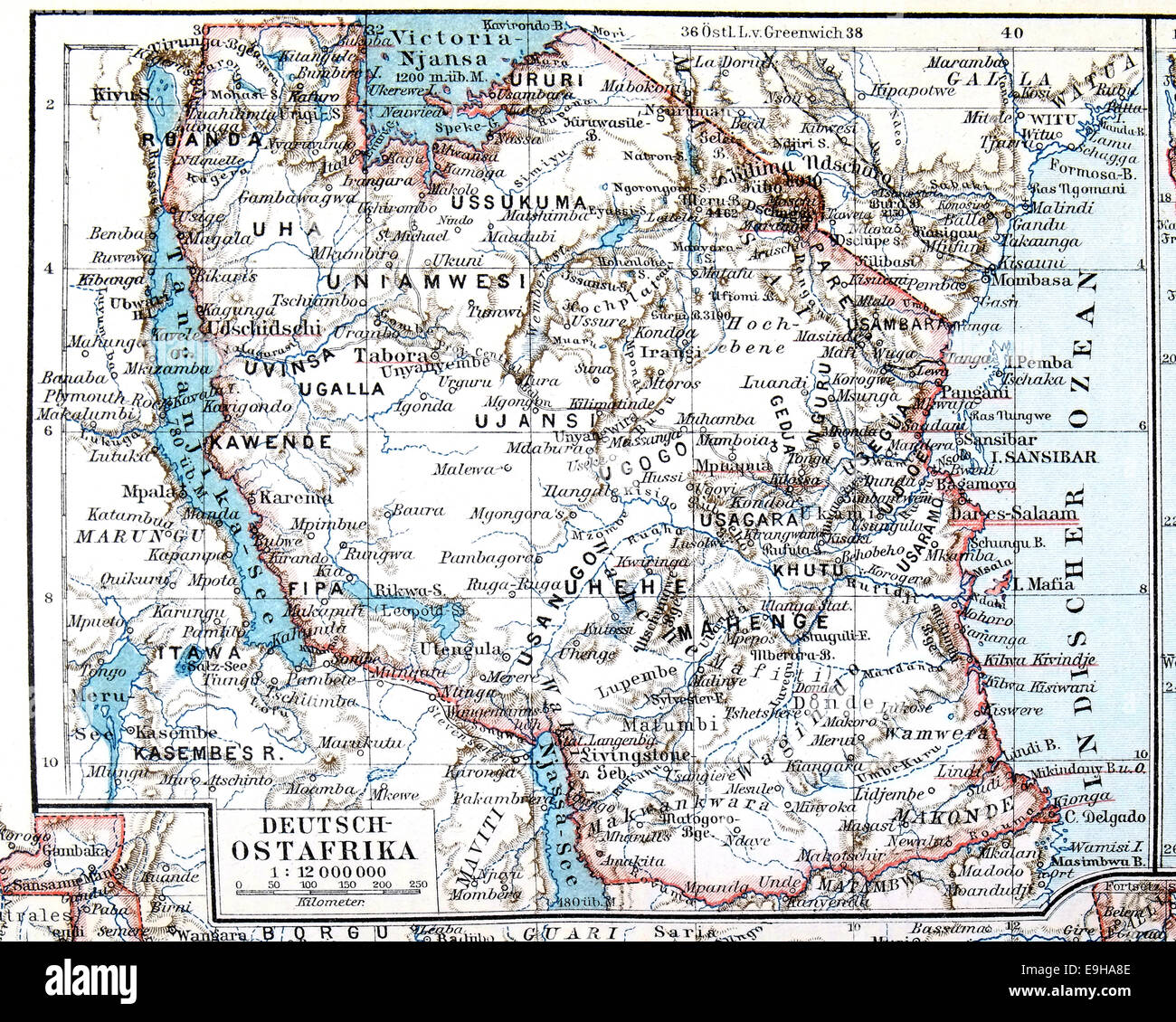 map of the former german colony of east africa meyers konversations lexikon encyclopedia 1897