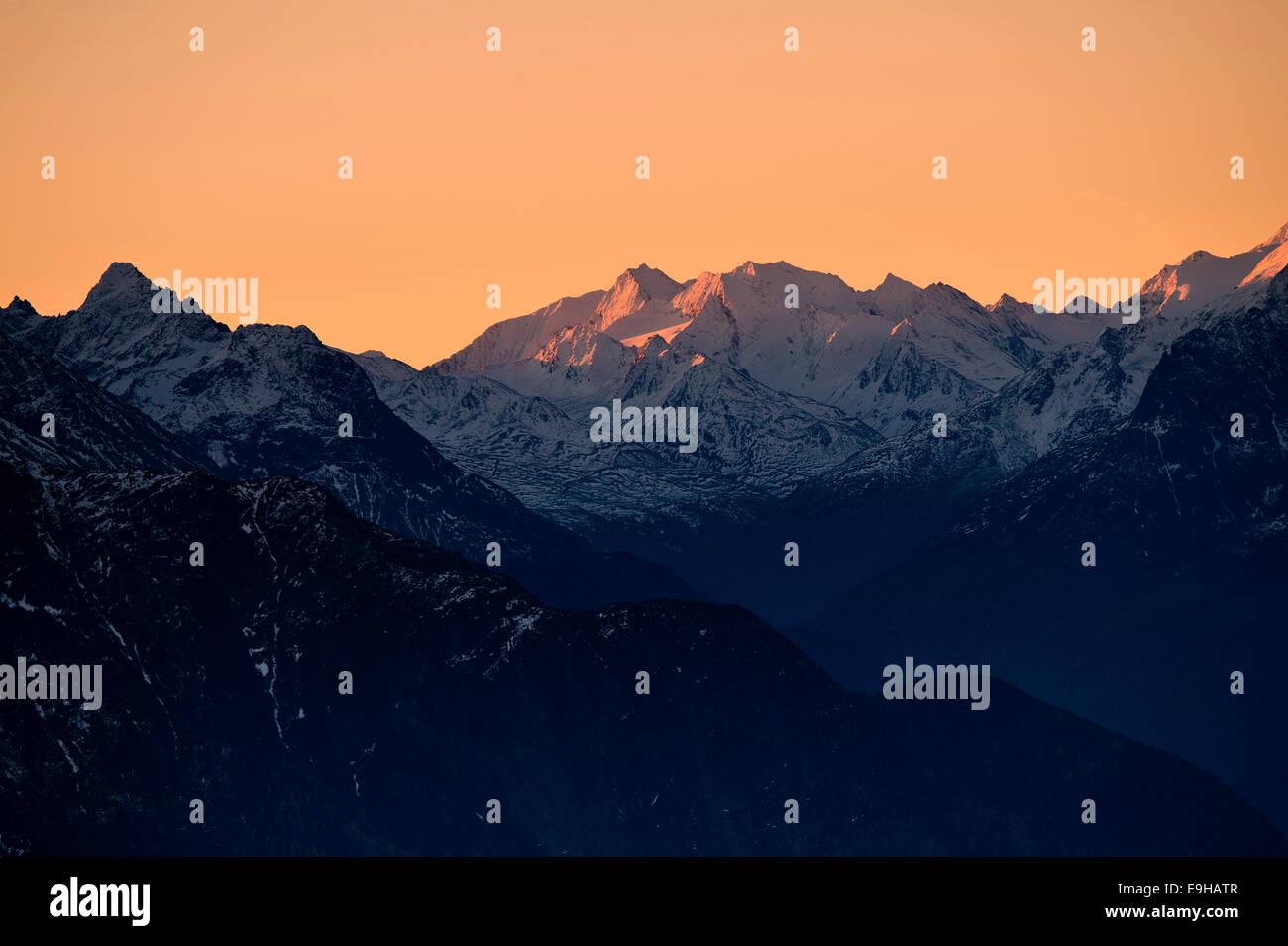 Sun rise over the mountains, Ehrwald, Tyrol, Austria - Stock Image