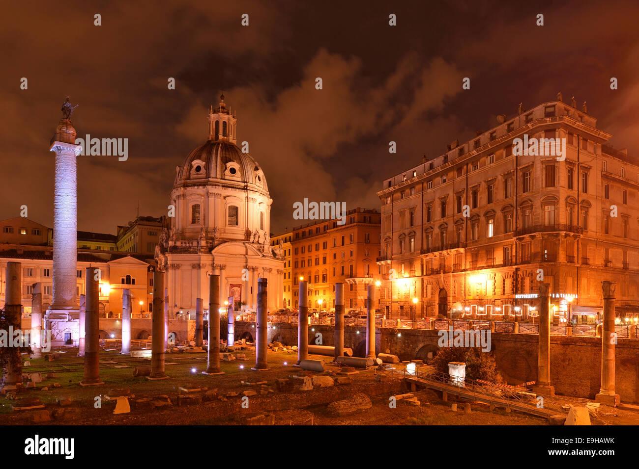 Church of Santa Maria di Loreto and Trajan's Column, in the evening, Rome, Lazio, Italy - Stock Image