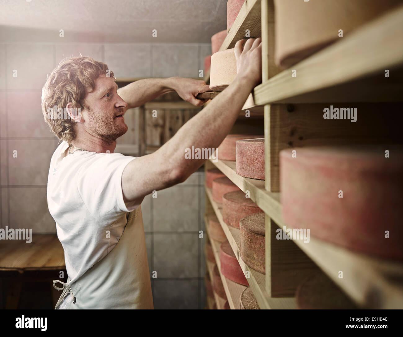 Dairyman storing his mountain cheese, Steinbergalm, Inneralpbach, Alpbach, Tyrol, Austria - Stock Image
