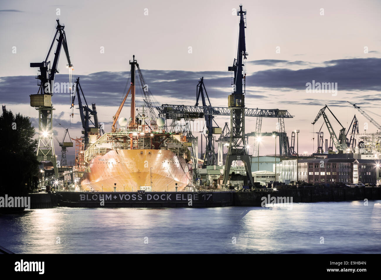 Container ship in a dry dock in the port, Hamburg, Hamburg, Germany Stock Photo