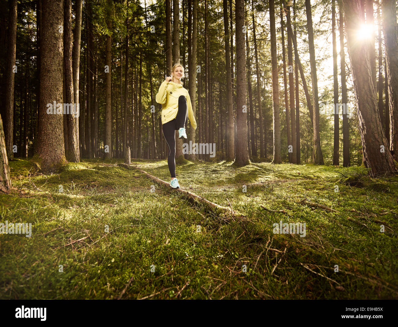Woman doing fitness exercises on a fallen tree in the forest, Tyrol, Austria Stock Photo