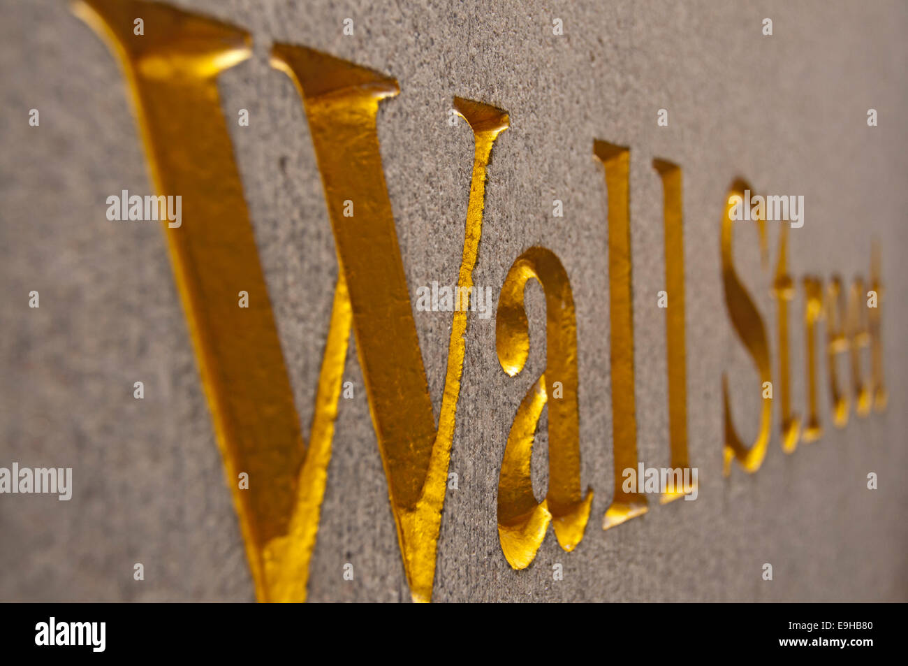 Wall Street, logo on the Bankers Trust Building, Manhattan, New York City, New York, USA - Stock Image