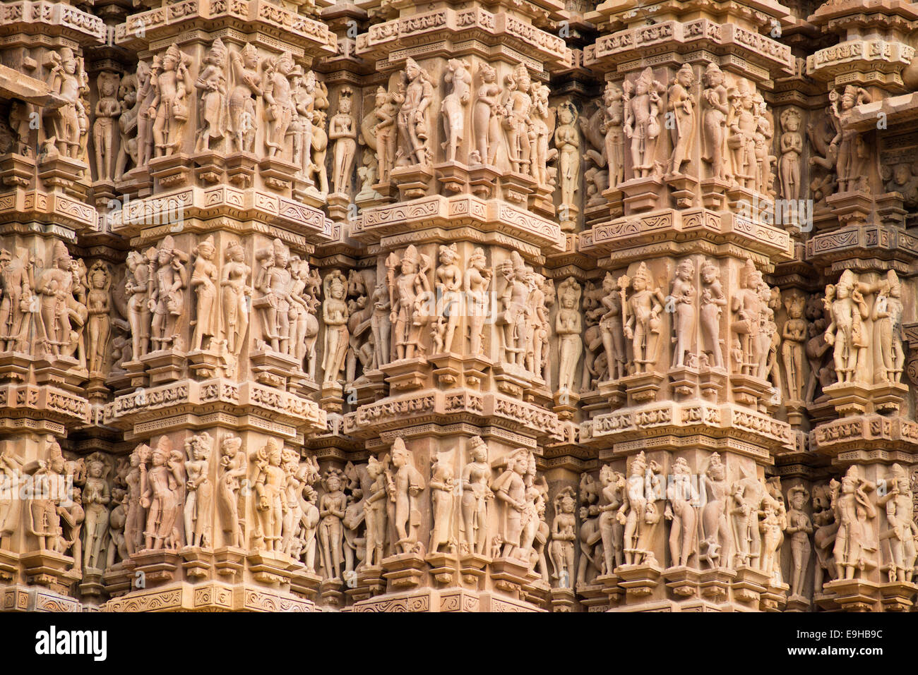 Relief with depictions of gods and men, Kandariya Mahadeva Temple, Western Group, Khajuraho Group of Monuments - Stock Image