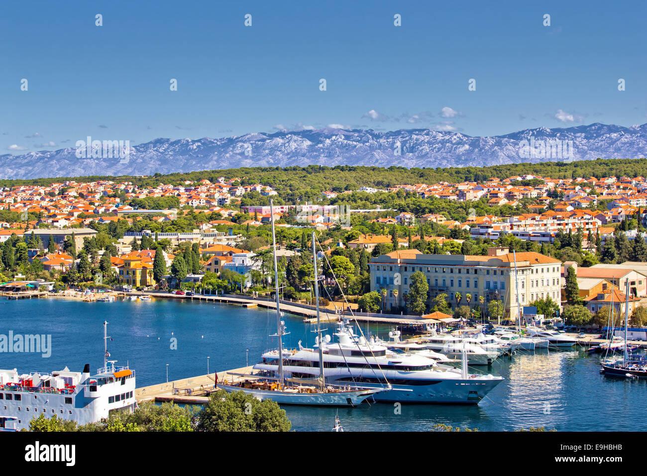 City of Zadar harbor and Velebit mountain Stock Photo