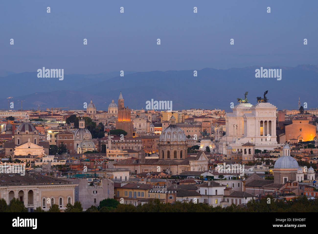 Rome. Italy. View across the city towards Piazza Venezia  from Piazza Garibaldi on the Gianicolo hill. Stock Photo
