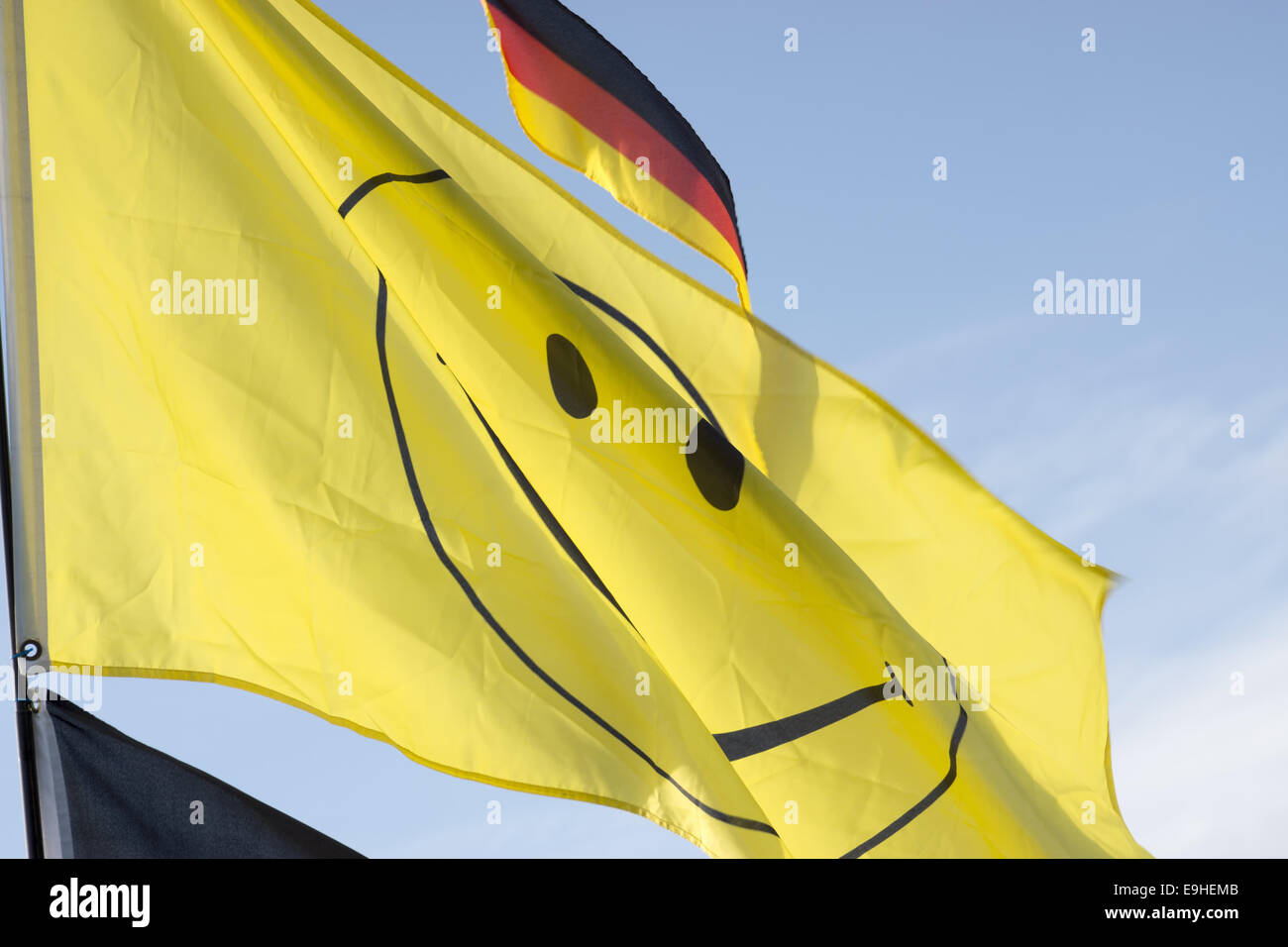 Flag with a smiley - Stock Image