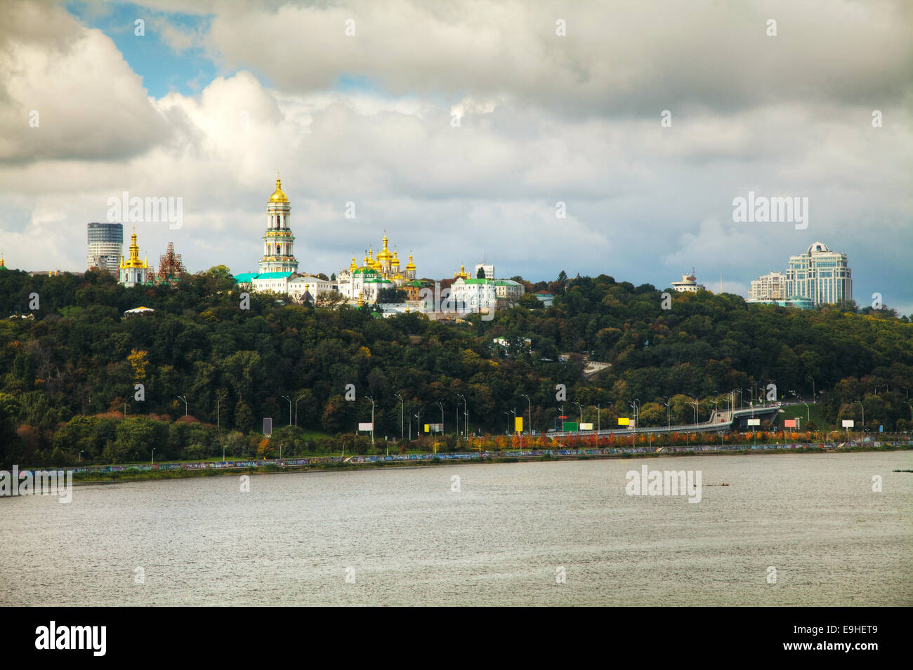 Overview of Kiev on a cloudy day - Stock Image