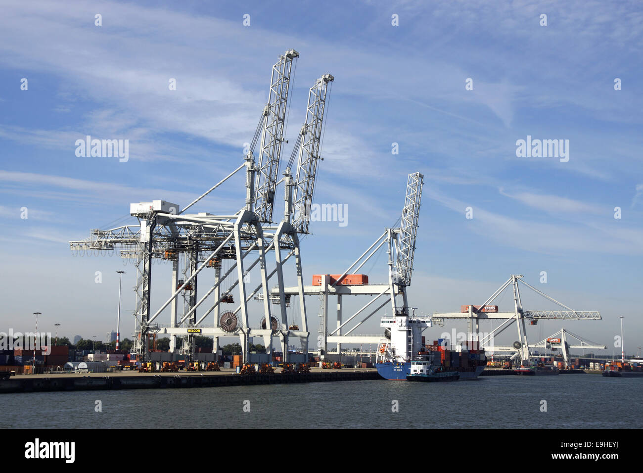 Container bridge in the harbor of Rotterdam Stock Photo