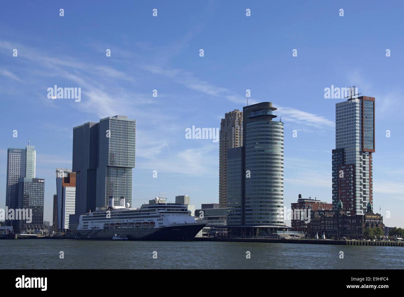 Skyline in Rotterdam, Kop van Zuid Stock Photo