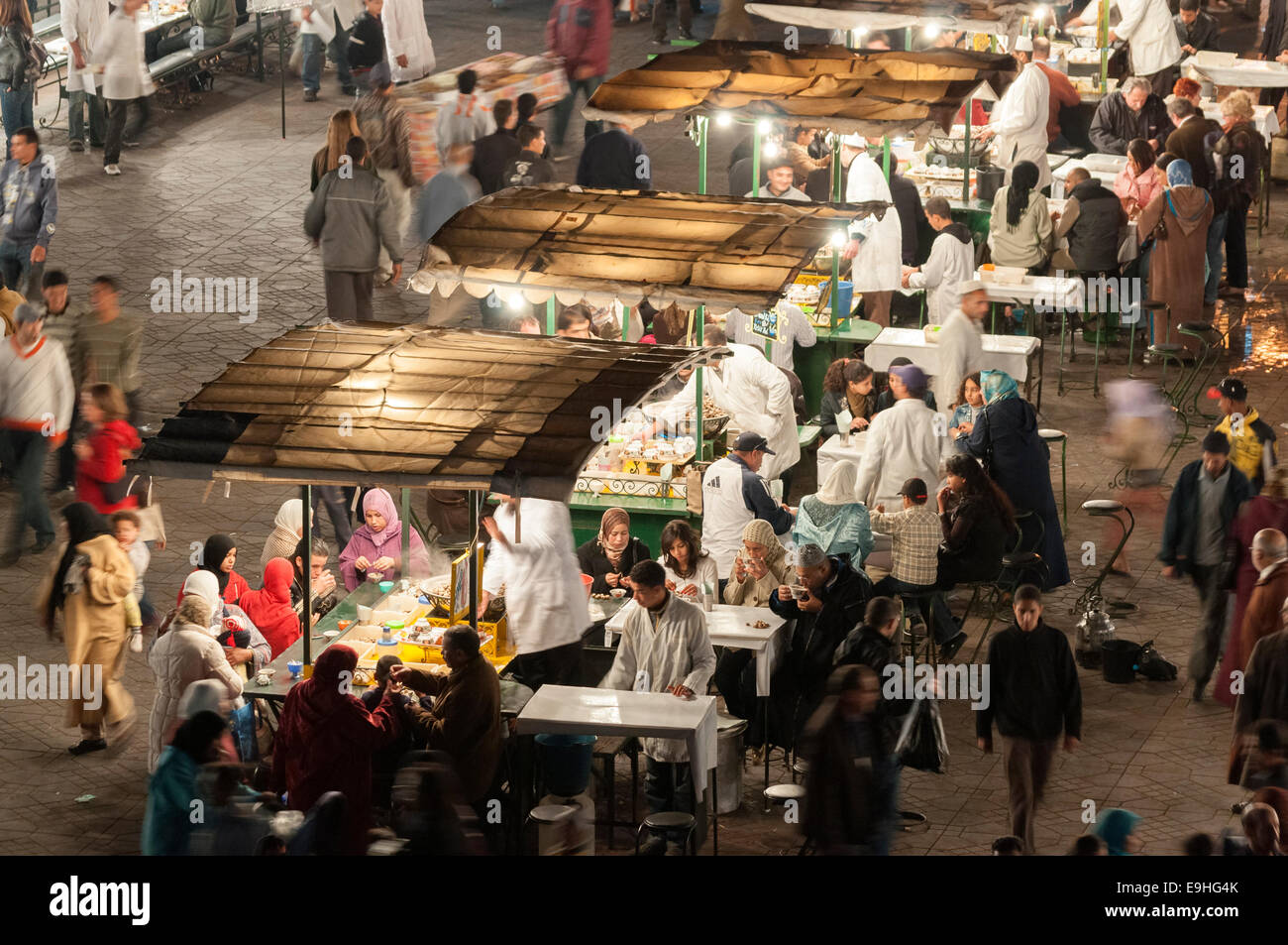 Food stands at the Jemaa el-Fnaa square in Marrakesh. November 23, 2008 in Marrakesh, Morocco Stock Photo