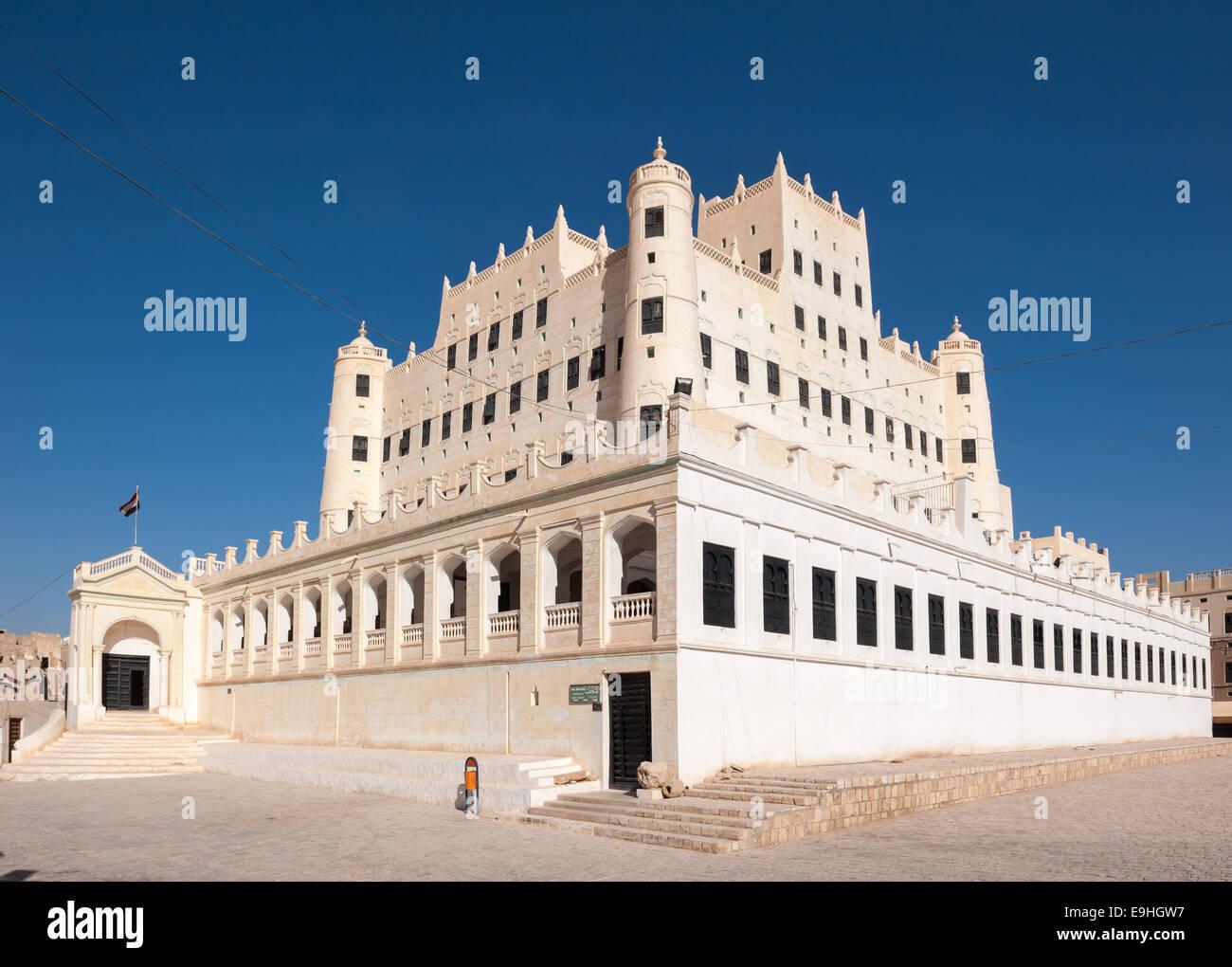 Sultan Al Kathiri palace in Seiyun, Yemen - Stock Image
