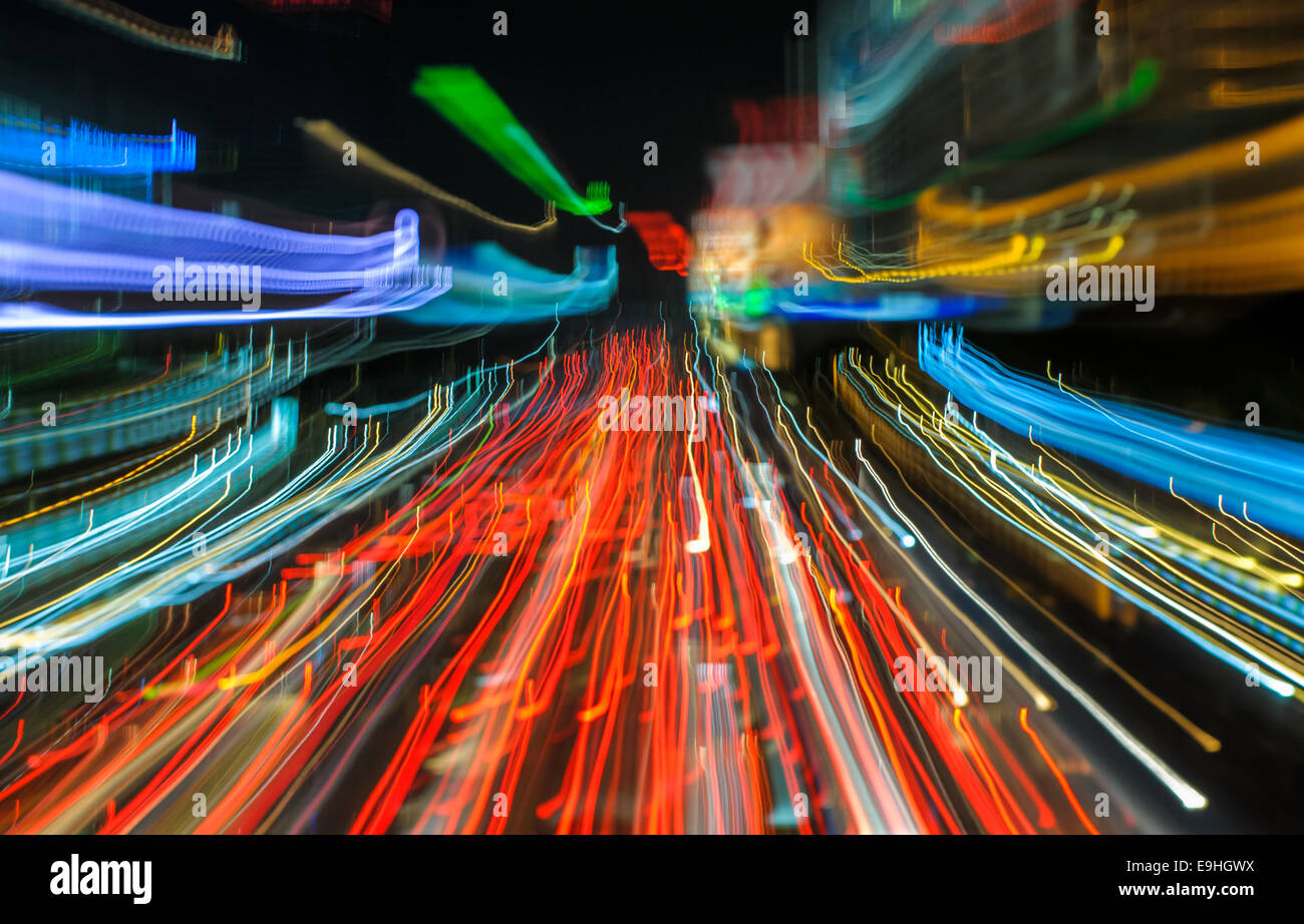 traffic lights in motion blur - Stock Image